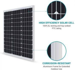 Renogy Panneau Solaire 50W 12V Module Photovoltaïque Monocristallin