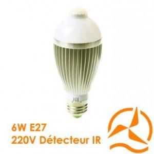 Ampoule à LEDs Révolutionnaire intégrant un détecteur de présence 220 Volts culot E27 éclairage blanc