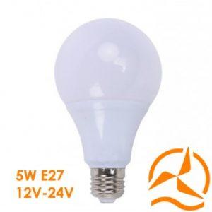 Ampoule LED 5W 12V-24V Blanc Chaud Culot E27 3000K 450 Lumens