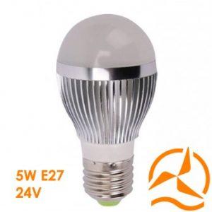 Ampoule LED 5W 24V E27 dissipateur thermique aluminium ultra économique blanc