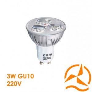 Ampoule spot 3 LEDs 220 Volts culot GU10 éclairage blanc chaud puissant