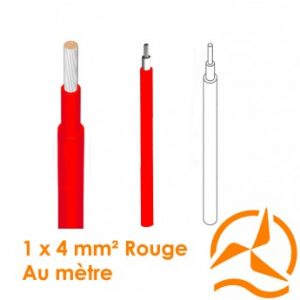 Câble électrique solaire unipolaire rouge 1 x 4 mm² vendu au mètre