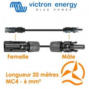 Câble solaire avec connecteur MC4 6mm² 20 mètres Victron Energy
