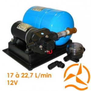 Groupe pompe surpresseur Flojet avec réservoir 12 Volts 17 à 22