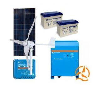 Kit hybride 12 Volts complet solaire et éolien 1000 à 3500 Wh
