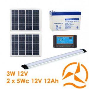 Kit solaire complet éclairage rampe LEDs 12 Volts 10 Watts