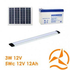 Kit solaire complet éclairage rampe LEDs 12 Volts 5 Watts
