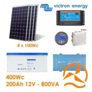 Kit solaire photovoltaïque autonome 400Wc Gel 200Ah 800VA 220-240Vac
