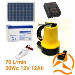 Kit vide cave ou vide cale solaire complet 70 L/min avec flotteur et panneau solaire 20W