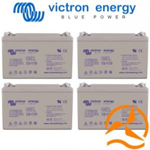 Lot de 4 batteries au Gel à décharge profonde 12 Volts 110 Ah Victron Energy