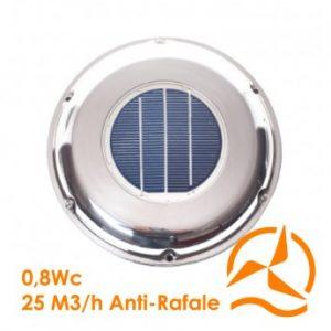 Ventilateur aérateur solaire acier inoxydable lentille type concentrée débit 25 m3/h système anti rafale